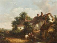 Thomas Smythe (British 1825-1907), A wayside chat; Horses watering