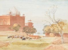 John Varley the Younger (British 1850-1933), Mosques on the side of the Taj Gardens, from outside th