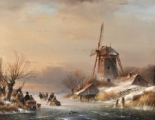 Attributed to Lodewijk Johannes Kleijn (Dutch 1817-1897), Figures skating on a frozen lake with a wi