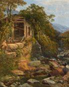 Joseph Paul Pettit (British 1812-1882), View of Camlaw water-powered sawmill, North Wales