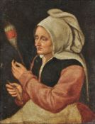 Follower of Marten van Cleve The Elder, A peasant woman with a spindle