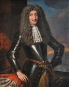 Attributed to Pieter Nason (Dutch 1612-1688), Portrait of a military commander in armour, a battle b