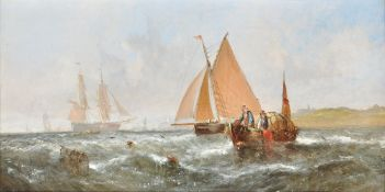 William Callcott Knell (British circa. 1830-1876), Fishing off the coast, Day; Dusk (2)