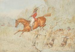 Henry Thomas Alken (British 1785-1851), Jumping a fence