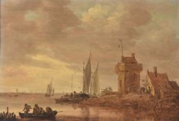 Jan Josefsz. van Goyen (Dutch 1596-1656), An estuary landscape on the Rhine with square tower and ta
