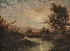 W*** Schwaben (19th century), Moonlit river landscape
