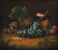 Follower of George William Sartorius , Still life with a basket of strawberries; Still life with gra