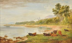 James William Giles (Scottish 1801-1870), A view of Dunrobin castle with longhorns resting in the fo