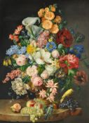 Franz Xaver Petter (Austrian 1791-1866), Still life of flowers including lilies, poppies, roses, tul