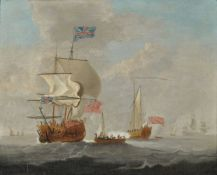 Attributed to Peter Monamy (British 1681-1749), A ship of the line with other vessels at sea, a sail