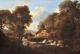 William Vivian Tippet (British 1833-1910), Watermill in a wooded landscape