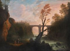 Manner of Claude Lorrain , Landscape with aquaduct and sunset