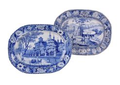 Two Staffordshire blue and white printed meat dishes