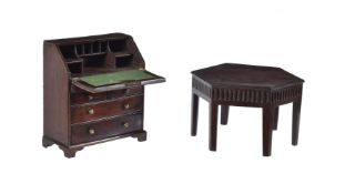 A miniature walnut and inlaid bureau in George II style