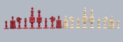 An English turned bone Barleycorn pattern chess set