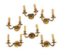 A set of six Continental gilt bronze twin light wall appliques