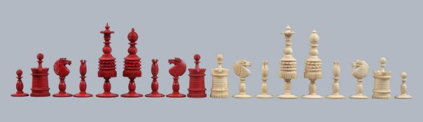 A large English turned bone Barleycorn pattern chess set