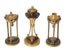 A pair of Louis Philippe gilt and patinated bronze cassolettes