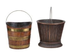 A George III mahogany and brass bound bucket or tea-kettle stand