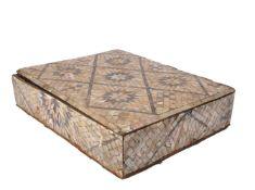 ϒ A mother-of-pearl and abalone veneered wood box