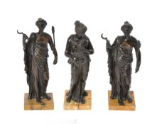 Three Italian patinated bronze models of maidens personifying Seasons
