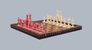 ϒ A turned and carved bone chess set