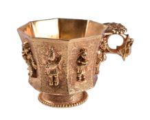 A Chinese gilt bronze octagonal cup