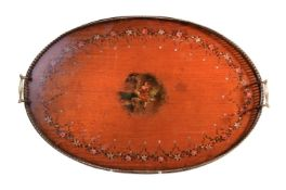 A gilt metal mounted and polychrome painted satinwood twin handled tray