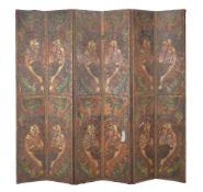An embossed and painted leather six-fold room screen