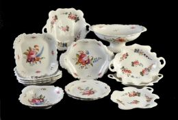 An English porcelain part dessert service painted with flowers