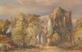 British School (19th century), Gothic ruins in a country landscape