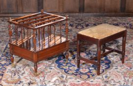 A George IV mahogany stool, together with a Victorian walnut Canterbury