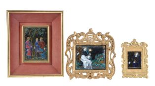 Three Limoges enamelled copper pictures in Mediaeval style