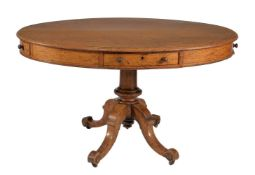 A Victorian oak oval library table