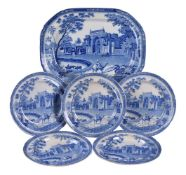 A selection of Roger's blue and white pearlware printed with the 'Gate leading to Musjed at Chunar G