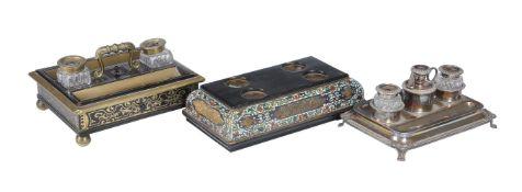 ϒ An ebony, brass inlaid and mounted standish