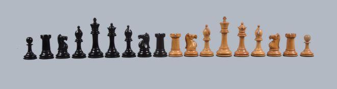 ϒ A fine late Victorian boxwood and ebony Staunton pattern chess set