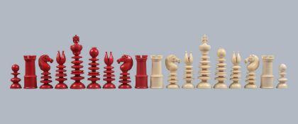ϒ A fine and large turned ivory St George pattern chess set