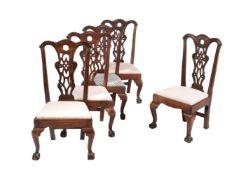 Set of five George III mahogany side chairs