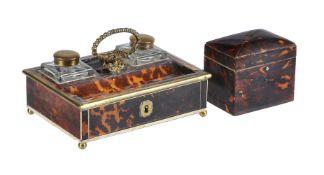 ϒ A Regency or George IV ivory banded and gilt metal mounted tortoiseshell standish