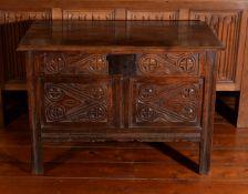 A Charles II oak chest