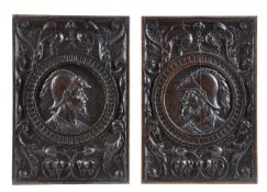 A pair of fine recessed relief carved oak romayne panels