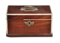 ϒ A George III mahogany and ivory mounted tea caddy
