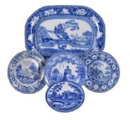 Five items of John Rogers & Son blue and white printed pearlware