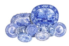 A selection of blue and white printed pottery