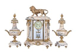 A French gilt brass and marble four-glass mantel clock garniture