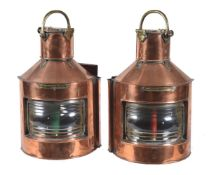 A pair of copper and brass mounted ship's lanterns