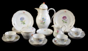 A Meissen (outside decorated) deutsche Blumen part coffee service