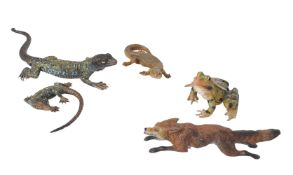 Four various Austrian cold painted bronze animals in the manner of Franz Xaver Bergmann