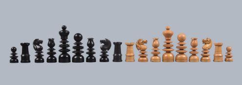 ϒ A turned boxwood and ebony St George pattern chess set